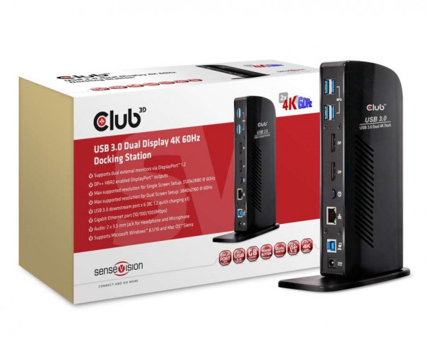 CLUB3D SenseVision USB 3.0 Dual Display 4K 60Hz Docking Station dokkoló