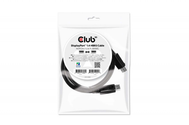 CLUB3D DisplayPort 1.4 HBR3 - DisplayPort 1.4 HBR3 2m kábel 154534