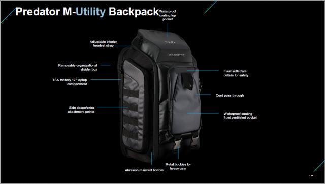 """Acer Predator Gaming M-Utility 15.6""""-17"""" Hátizsák Fekete-kék (PBG920)"""