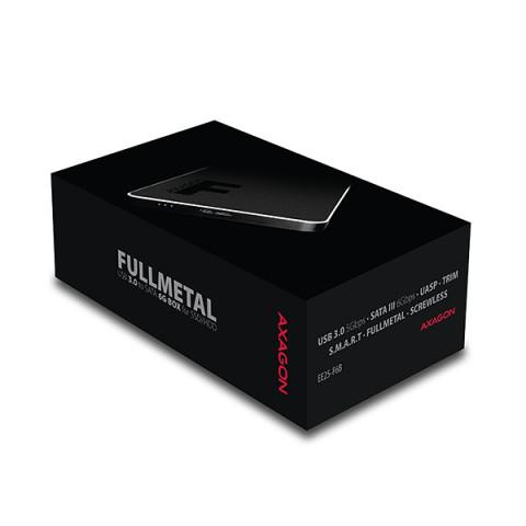 Axagon EE25-F6B Fekete HDD/SSD külső aluház