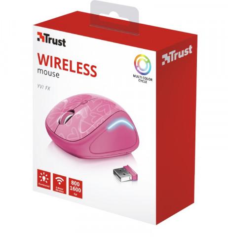 Trust Yvi FX Wireless Mouse vezeték nélküli pink egér