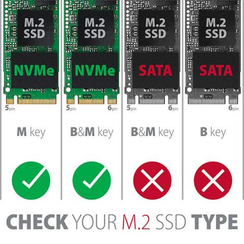 Axagon EEM2-UG2 Type-C 3.2 NVME PCIe M.2 SSD 10Gbit/s külső ház