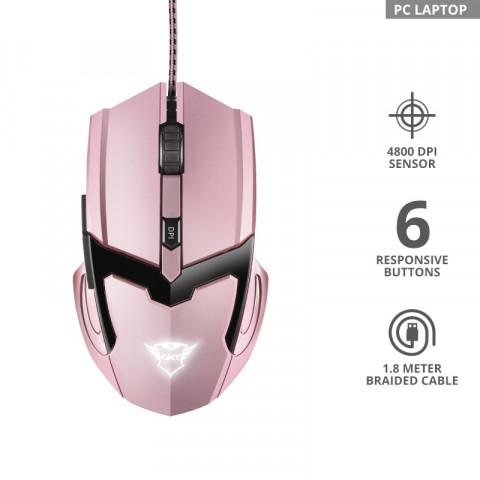 Trust GXT 101P Gav Gaming optikai egér - Pink