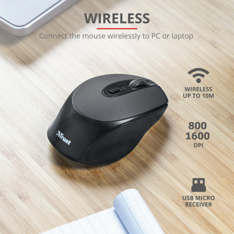 Trust Zaya Rechargeable Wireless Mouse - Fekete