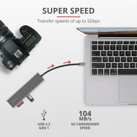 Trust HALYX FAST USB-C hub és kártyaolvasó