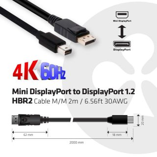 CLUB3D Mini DisplayPort HBR2 - DisplayPort 1.2a HBR2 2m kábel