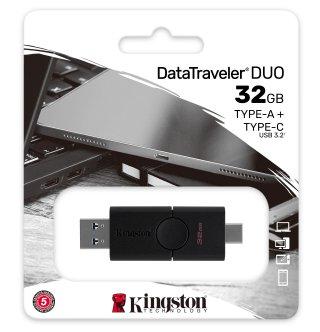 Kingston 32GB USB Duo (USB-A - USB Type-C) Fekete Pendrive